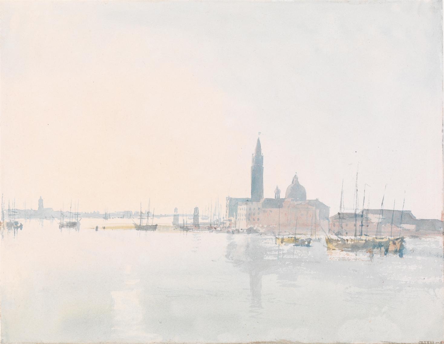 Venise San Giorgio Maggiore, tôt le matin, 1819, aquarelle sur papier, 22,3 x 28,7 cm Tate, accepté par la nation dans le cadre du legs Turner 1856, Photo © Tate